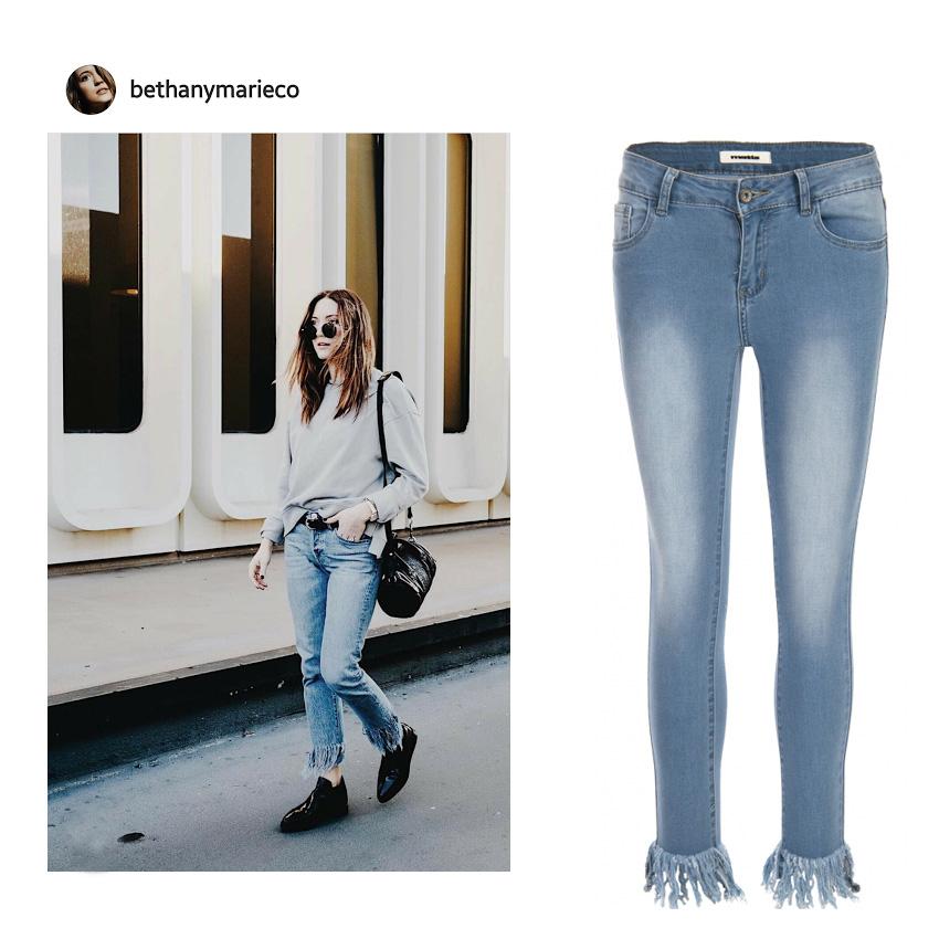 42763cab2507 Το τζιν παντελόνι με κρόσια αποτελεί κομμάτι-κλειδί για τις smart casual  εμφανίσεις σου την Άνοιξη και το Καλοκαίρι. Συνδύασε το από τις πρώτες  πρωινές ώρες ...