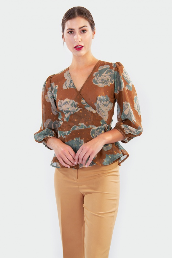 CROSSED FLORAL BLOUSE