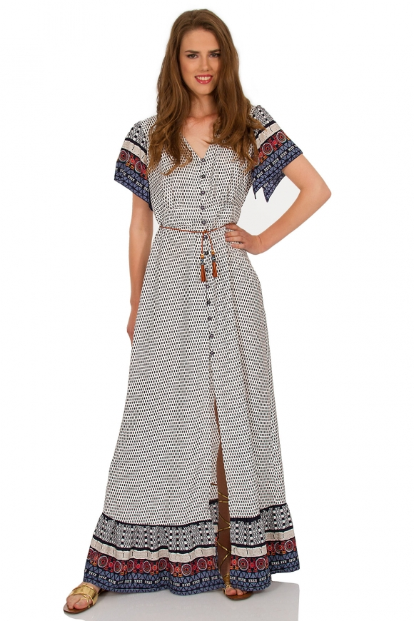 DOUBLE COLOURED MAXI DRESS WITH BUTTONS